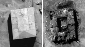 Before and after pictures of the nuclear reactor struck during Operation Orchard in Syria (photo credit: US Government)