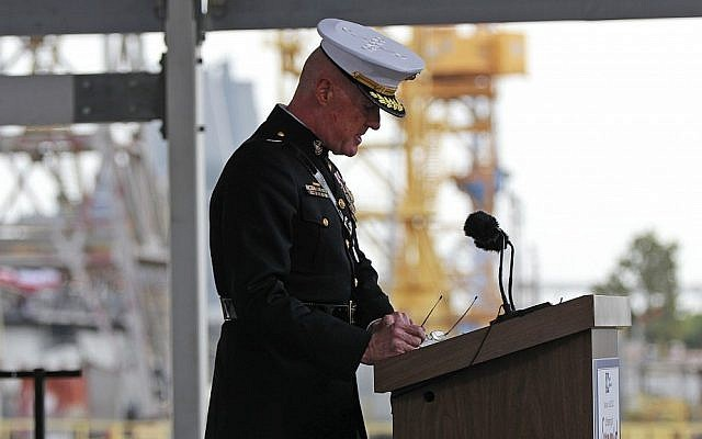 Lt. Gen. Richard Mills, speaking at a ceremony in Louisiana in July, acknowledges that cyberattacks against opponents in Afghanistan have been launched -- an unusually explicit acknowledgment of the oft-hidden world of electronic warfare. (photo credit: Gerald Herbert/AP)