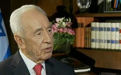 President Shimon Peres in an interview with Channel 2, Thursday (photo credit: Image capture from Channel 2)