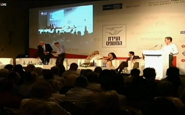 A panel at Tuesday's legal conference (photo credit: screen capture/ynet.co.il)
