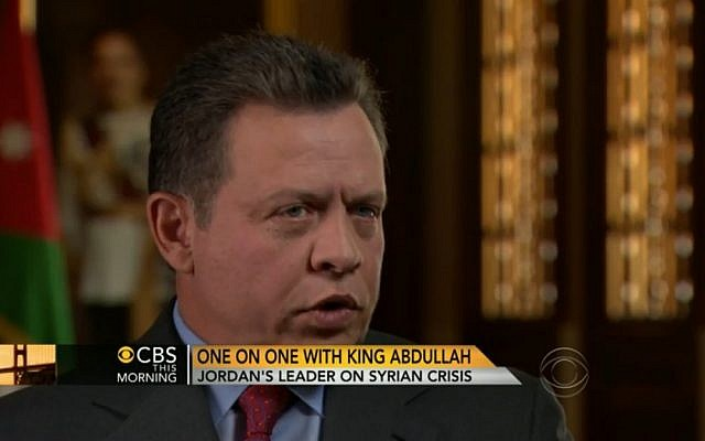 King Abdullah II of Jordan talking with Charlie Rose on CBS. (photo credit: Image capture from CBS)