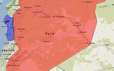 A map of Syria delineating a potential future Alawite enclave.