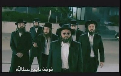 Arabs dressed as Jewish bank robbers in the Egyptian TV show, 'Firqat Naji Attalah' (Youtube screen capture)