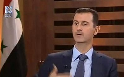 Syrian President Bashar Assad in an interview on Syrian television in August (photo credit: image capture from YouTube, AntiQadseya002)