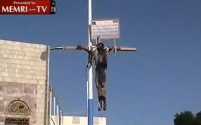 Yemen crucifixion (photo credit: MEMRI)