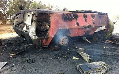 The burnt out carrier Monday morning. (photo credit: IDF Spokesman's Office)