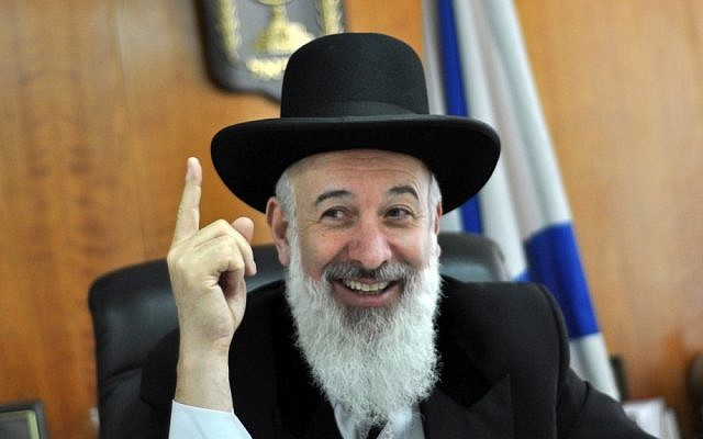 Chief Rabbi Yona Metzger in his office last year (photo credit: Yoav Ari Dudkevitch/Flash90)