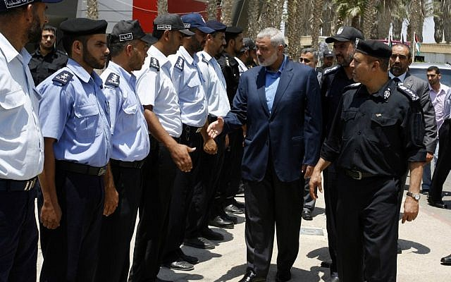 Hamas PM Ismail Haniyeh leaves the Gaza Strip for Egypt, July 25, 2012 (photo credit: Abed Rahim Khatib / Flash 90)