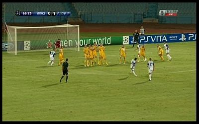 Lensce scores a free-kick for Kiryat Shmona (photo credit: screen capture)