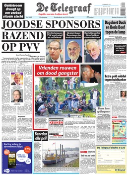 De Telegraaf's frontpage (photo credit: screenshot www.telegraaf.nl)