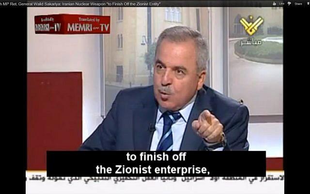 Hezbollah MP Walid Sakariya on al-Manar TV. (photo credit: Image capture from MEMRI video on YouTube)