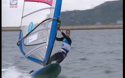 Lee Korzits finishing her final race at the 2012 Olympic Games. (photo credit: Screenshot/IBA)