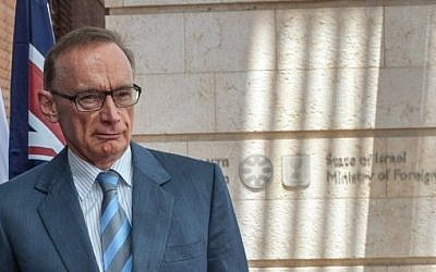Bob Carr, seen on a visit to Israel during his time as foreign minister (photo credit: Yossi Zamir)