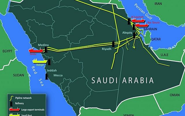 An illustration of Saudi Arabia's oil facilities and shipping routes (Photo credit: Courtesy: Institute for Policy and Strategy and the Interdisciplinary Center Herzliya)