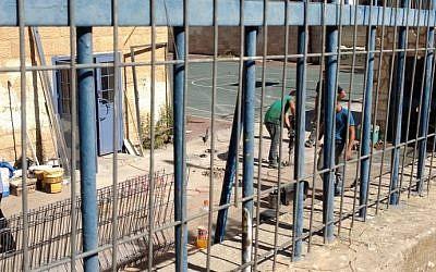 Construction in progress at the Tali Geulim preschool in Jerusalem's Baka neighborhood (photo credit: Jessica Steinberg_