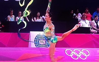 Rivkin performs with the ribbon in the Olympic finals on Saturday (photo credit: Channel 1 screenshot)
