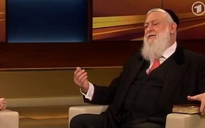 Rabbi Yitshak Ehrenberg on the Anne Will show in July. (screenshot, via YouTube)