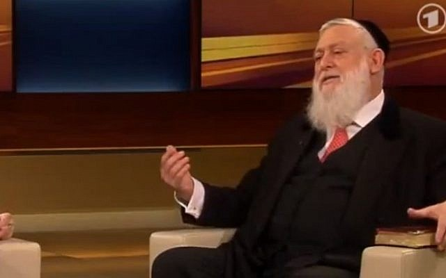 Rabbi Yitshak Ehrenberg on the Anne Will show in July. (screenshot, via YouTube)