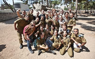 Sabaton band members with IDF soldiers at Ammunition Hill (Photo credit: Avihai Levy)