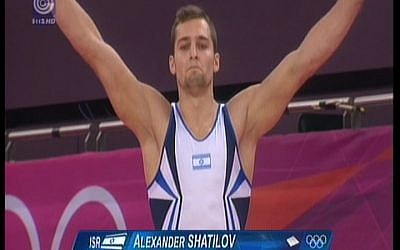 Alexander Shatilov at the floor finals on Sunday (photo credit: screen capture Channel 1)