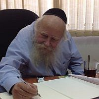 Rabbi Adin Even-Israel (Steinsaltz) in his Jerusalem office (Raphael Ahren/Times of Israel)