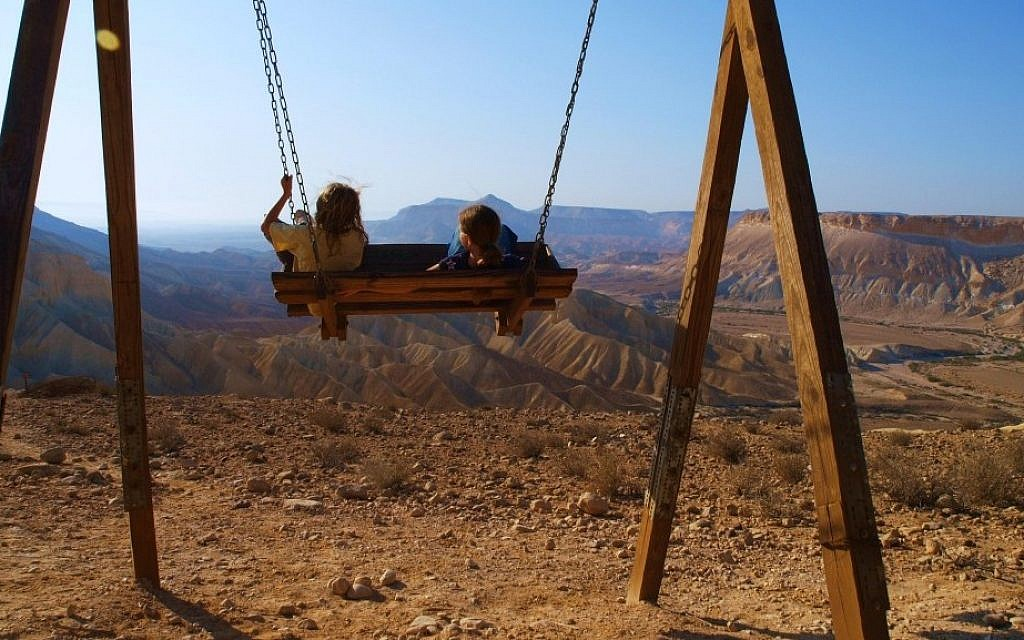 What to do during the Sukkot holiday? Lounge, and swing, near Sde Boker (photo credit: Tal Glick/HaNegev Regional Council)