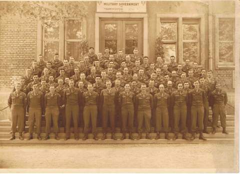 A group photo of the unit during the post-war military government in Germany. Alexander Breuer, the author's father, is in the second row, sixth from the right. (photo credit: courtesy Heddy Abramowitz)