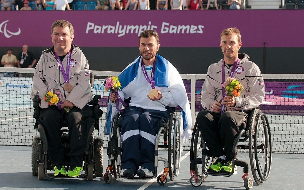 Noam Gershony (center) with his co-medalists at the London 2012 Paralympics (photo credit: Razi Livnat/courtesy IASP)