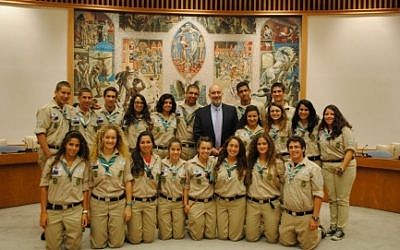 The Israeli Scout delegation at the UN on Sunday (photo credit: courtesy of Israel's delegation to the UN)