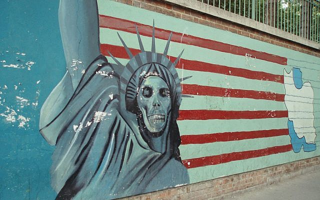 A mural outside the former US Embassy in Tehran. (photo credit: CC-BY-SA davehighbury, Flickr)