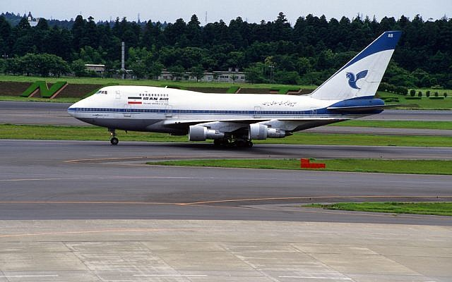 Illustrative photo of an Iran Air 747 aircraft (photo credit: CC BY-SA contri, Flickr)