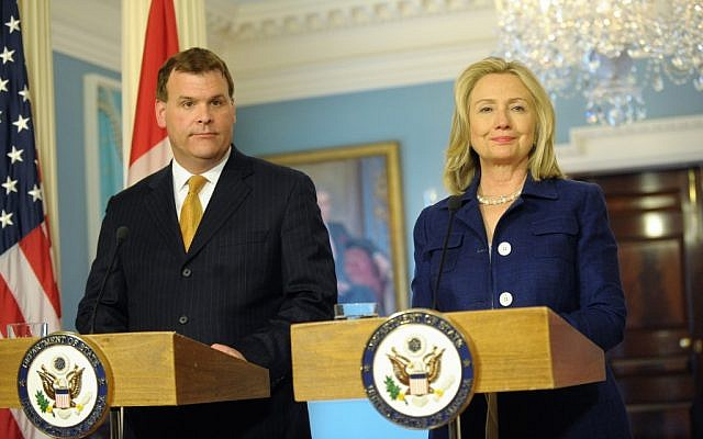 Canadian Foreign Affairs Minister John Baird (left) and US Secretary of State Hillary Rodham Clinton in Washington in August. (photo credit: US State Department photo, public domain)