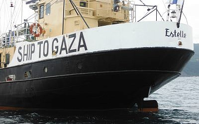 The Gaza-bound schooner Estelle (photo credit: CC BY-SA Dabid Martinez Perez, Flickr)
