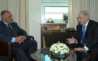Prime Minister Benjamin Netanyahu, right, speaking to his Bulgarian counterpart Boyko Borisov Tuesday in Jerusalem (photo credit: GPO)