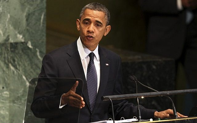 President Barack Obama addresses the 67th session of the United Nations General Assembly, Tuesday, Sept. 25, 2012. (photo credit: AP Photo/Richard Drew)