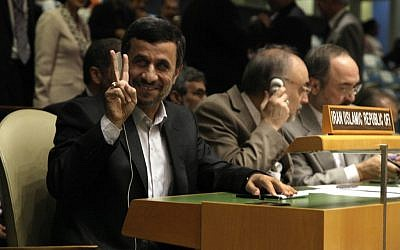 Iranian President Mahmoud Ahmadinejad at the United Nations General Assembly on Monday September 24. (photo credit: AP/Richard Drew)