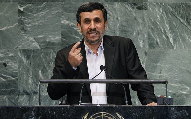 Mahmoud Ahmadinejad at the UN General Assembly (photo credit: AP/Jason DeCrow)