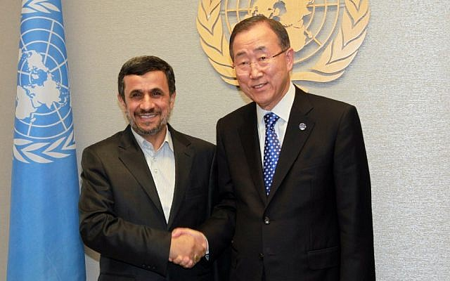 Iranian President Mahmoud Ahmadinejad meets with UN Secretary-General Ban Ki-moon at the United Nations Headquarters in New York on Sept. 24 (photo credit: AP/David Karp)