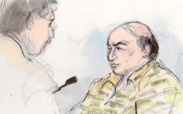 This courtroom sketch shows Mark Basseley Youssef (Nakoula Basseley Nakoula), right, appearing to give testimony at a hearing on Thursday (photo credit: AP/Mona Shafer Edwards)
