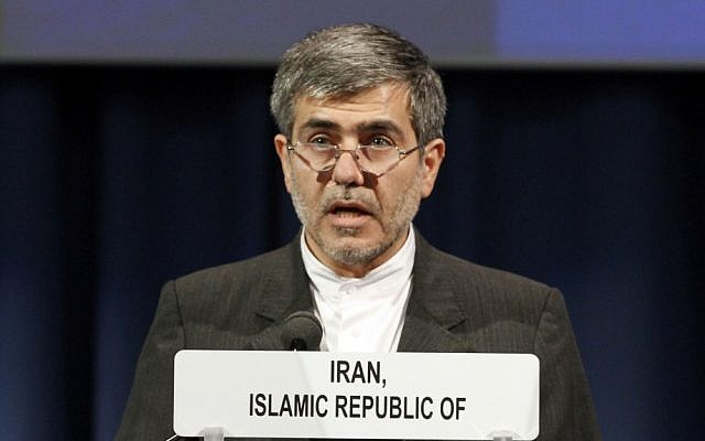 Fereydoon Abbasi-Davani, head of Iran's Atomic Energy Organization, in a speech at the International Atomic Energy Agency in Vienna in September 2012. (photo credit: AP/Ronald Zak)