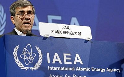 Fereydoon Abbasi-Davani, Iran's vice president and the head of its nuclear program, delivers a speech at the general conference of the International Atomic Energy Agency in Vienna, Austria, Monday, September 17, 2012 (photo credit: AP/Ronald Zak)