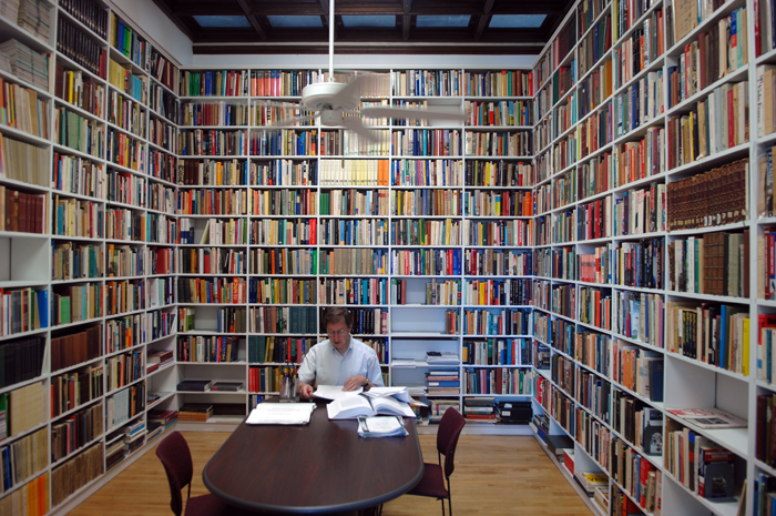 Bernard Wasserstein in his book-lined office (photo credit: courtesy)