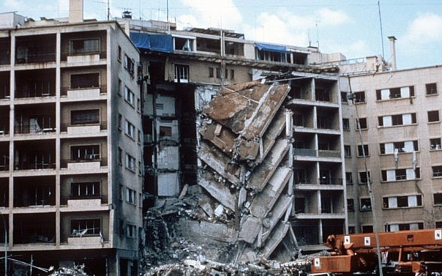 A view of the US Embassy in Beirut, Lebanon, after a terrorist bombing that killed 63 people on April 18, 1983 (photo credit: Wikimedia Commons/US Army)