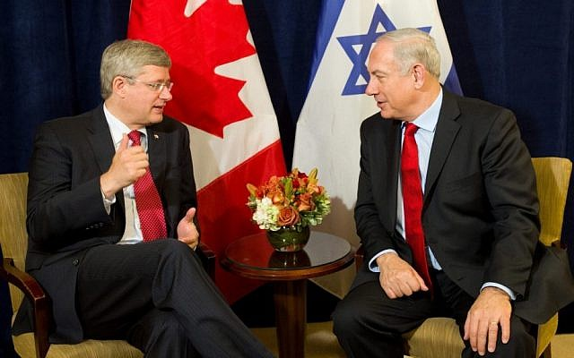 Canada's Prime Minister Stephen Harper, left, with Prime Minister Benjamin Netanyahu before a bilateral meeting in New York on Friday (photo credit: Sean Kilpatrick/AP/The Canadian Press)