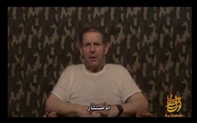 Warren Weinstein, held hostage for over a year in Pakistan, seen in a video released by al-Qaeda on September 12, 2012. (screen capture: YouTube)