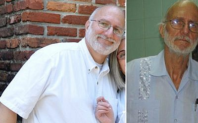 Alan Gross, shown in 2009, left, and in 2012 (photo credit: AP/Courtesy of Peter Kahn)