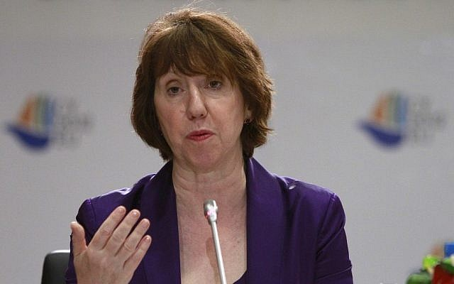 EU foreign policy chief, Catherine Ashton, speaks to the media during a press conference in Nicosia, Cyprus. (photo credit: AP)