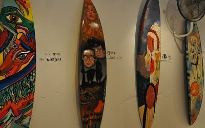 Colorful surfboards at the Surf Writers exhibit (photo credit: Michal Shmulovich)
