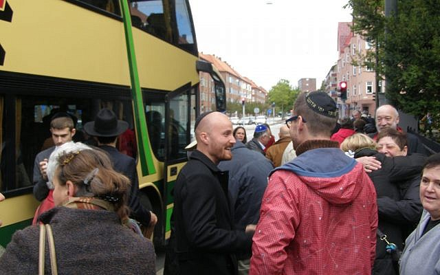 Danish Jews arrive in Malmo, Sweden, to show their solidarity with the city's Jewish community. (Photo credit: Cnaan Liphshiz/JTA)