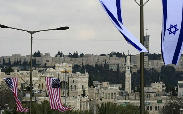 American and Israeli flags hanging in the street of Jerusalem (photo credit: Olivier Fitoussi/Flash90)